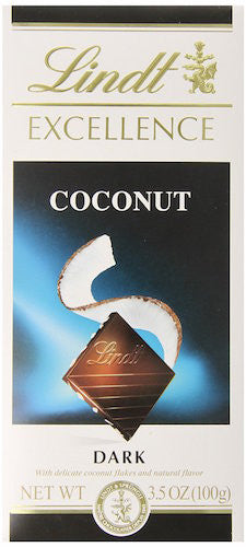 Lindt Chocolate Excellence Dark Coconut Bar, 3.5-Ounce Bars (Pack of 12)
