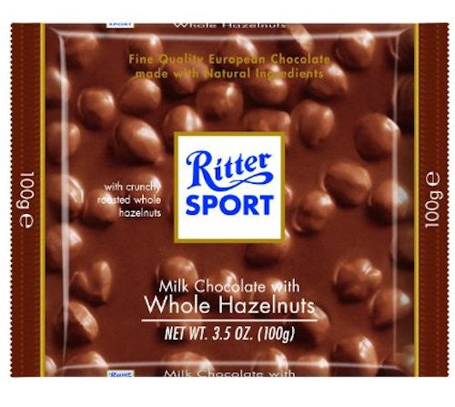 Ritter Sport Milk Chocolate Whole Nuts 100g