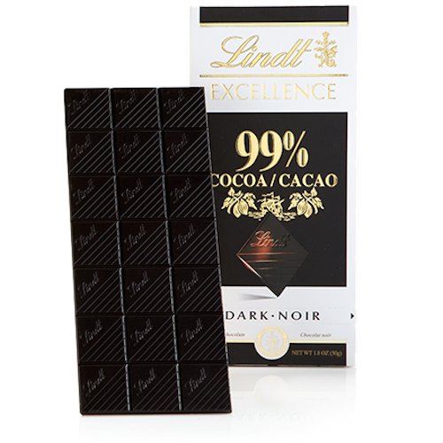 Lindt Excellence 99% Dark Chocolate, 1.8-Ounce Bars (Pack of 12)