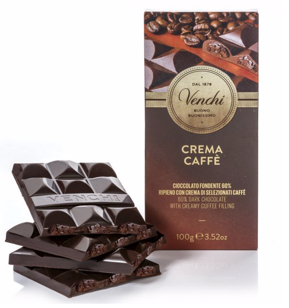 Venchi 60% Dark Chocolate Coffee Filled Bar 100g (6-pack)