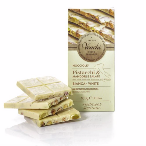 Venchi White Chocolate Salted Nuts Bar 100g (6-pack)