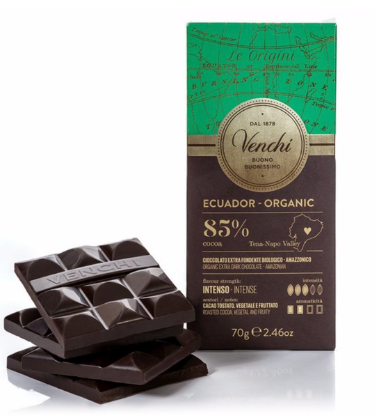 Venchi Organic Ecuador 85% Dark Chocolate Bar 70g (6-pack)