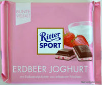 Ritter Sport Bars, Milk Chocolate with Strawberry Yogurt Creme, 3.5 Ounce (Pack of 12)