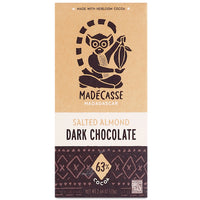Madecasse Salted Almond 63% Dark Chocolate 2.64oz Bar (6-pack)
