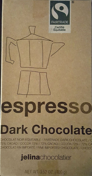 Jelina's 72% Dark Chocolate Espresso Bar 3.35oz (8-pack)