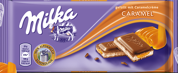 Milka Caramel Milk Chocolate Bar 100g (10-pack)