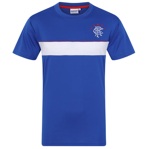 9e0e273fd Rangers FC Mens Poly T-Shirt · White · Navy Blue · Royal White Stripe ...