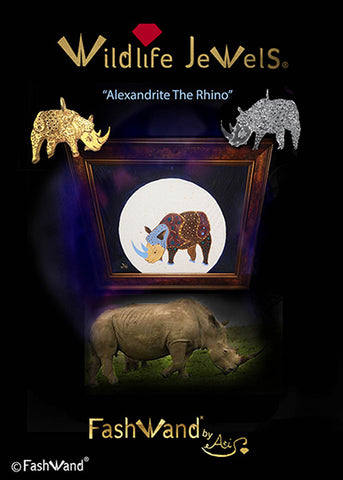 "FashWand by Azi Wildlife Jewels® ""Alexandrite The Rhino"" Painting Silver Pendant at All in For Africa Event in NYC, Hosted by Shannon Elizabeth the Founder of Animal Avengers"