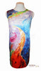 "Mai Tai Arte Dress in Silk and Organic Cotton Hand-Painted ""Tropical Moonlight"" Painting"