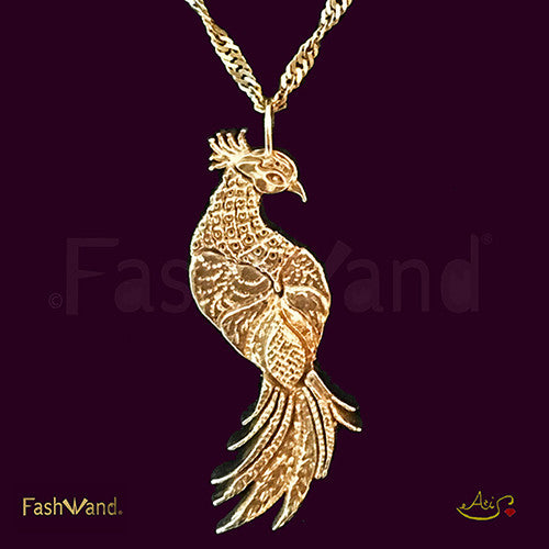"Wildlife Jewels® ""Ruby The Six Plumed Bird of Paradise"" Painting 18K Gold Plated Pendant"