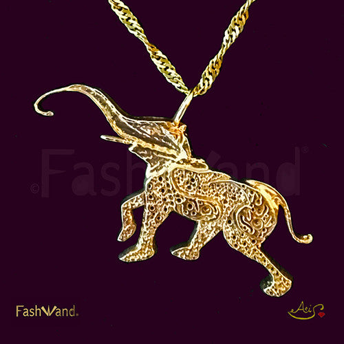 "Wildlife Jewels® ""Lapis Lazuli The Elephant"" Painting 18K Gold Plated Pendant"