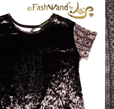 "FashWand Open Back Crushed Velvet Arte Top ""Black Cheetah"""