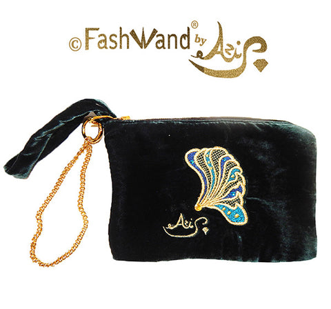 "FashWand Jeweled Embroidered Clutch in Silk Velvet ""Black Opal The Bird of Paradise Wing"""