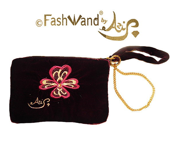 "FashWand Jeweled Embroidered Clutch in Silk Velvet ""Royal Pink Dianthus"""