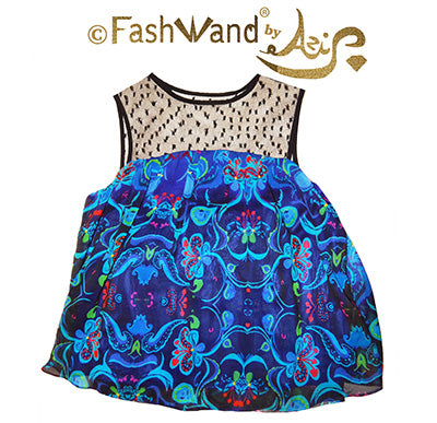 "FashWand French Polka Dot Lace Top in Silk Georgette ""Dancing Flower"""