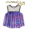 "FashWand French Polka Dot Lace Top in Silk Georgette ""Lavender Sea"""