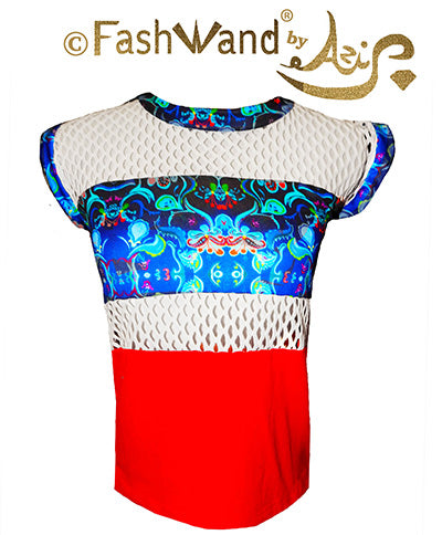 "FashWand Bamboo Mesh Net Panel Top ""Dancing Flower"""