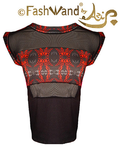 "FashWand Bamboo Mesh Panel Top ""Red Giraffe"""