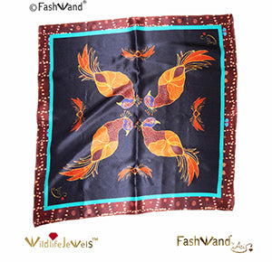 "Wildlife Jewels® ""Ruby The Six Plumed Bird of Paradise"" Arte Scarf in Silk Satin 25 x 25"