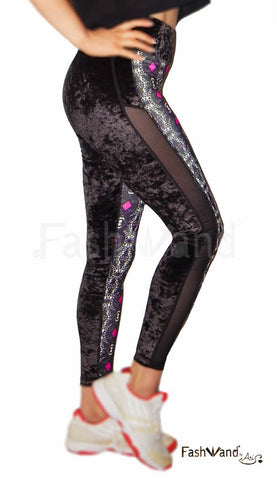 "Crushed Velvet Side Mesh Arte Leggings ""White Giraffe"" Design"