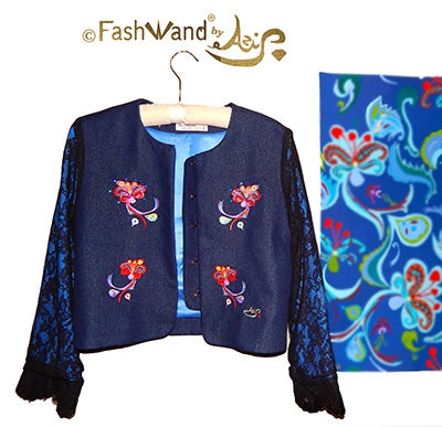 "FashWand Jeweled Embroidery Lacy Silk Denim Jacket ""Dancing Flower"""