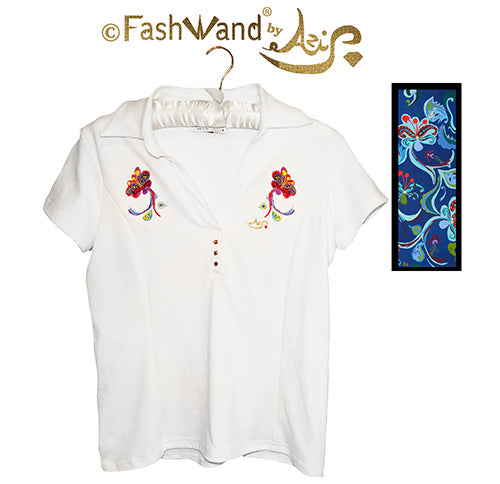 "FashWand Jeweled Embroidery Cotton Polo ""Dancing Flowers"""