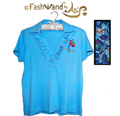 "FashWand Jeweled Embroidery Ruffle Cotton Polo ""Dancing Flower"""