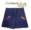 "FashWand Jeweled Embroidery Denim + Silk Scalloped Hem Shorts ""Sea Dragon"""