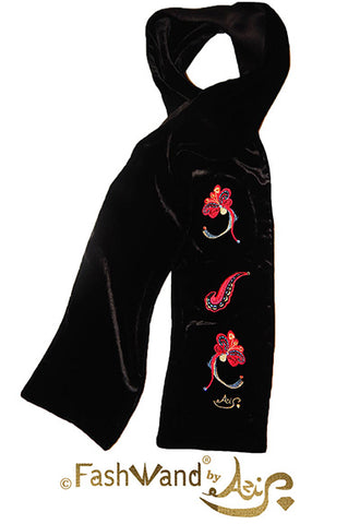 "FashWand Jeweled Metallic Embroidery Silk Velvet Scarf ""Dancing Flower"""