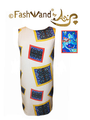 "FashWand Arte Dress in Silk and Velvet ""Dancing Flower Square"""