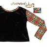 "FashWand Crushed Velvet Open Back Long Sleeve Arte Top ""Dancing Wave"""