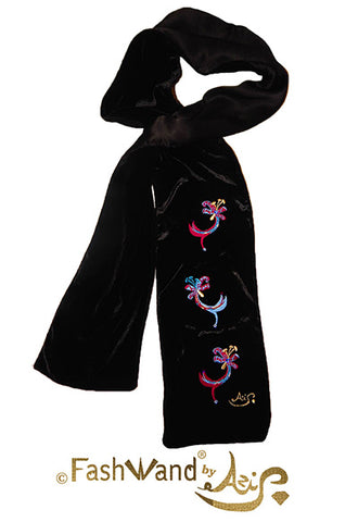 "FashWand Jeweled Metallic Embroidery Silk Velvet Scarf ""Leopard Flower"""