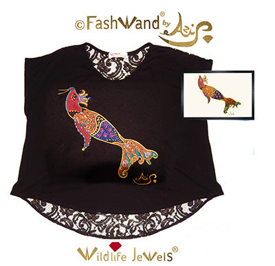 "FashWand Jeweled Embroidery Wool & Lace Top ""Smoky Quartz The Elephant Seal"" Painting"