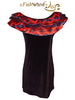 "FashWand Italian Tulle Ruffle Dress in Silk Satin and Velvet ""Scarlet Sea Pens"""