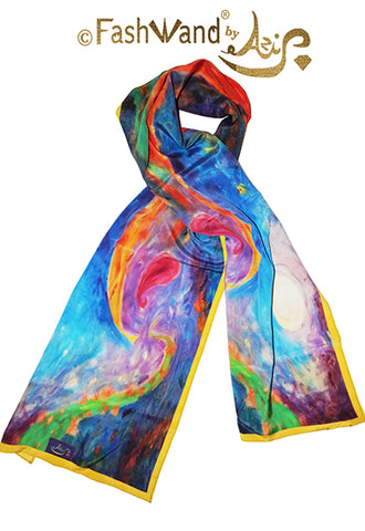 "FashWand 15 x 68 Arte Scarf in Silk Crepe de Chine ""Tropical Moonlight"""