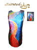 "FashWand Mai Tai Arte Dress in Silk and Velvet ""Tropical Moonlight Painting"""