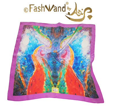 "FashWand 15 x 15 Wrist Scarf in Silk Crepe de Chine ""Tropical Moonlight"""