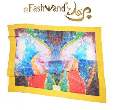 "FashWand 35 x 35 Arte Scarf  in Printed Silk ""Tropical Moonlight"""