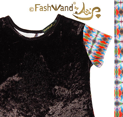 "FashWand Open Back Crushed Velvet Arte Top ""Tropical Moonlight"""