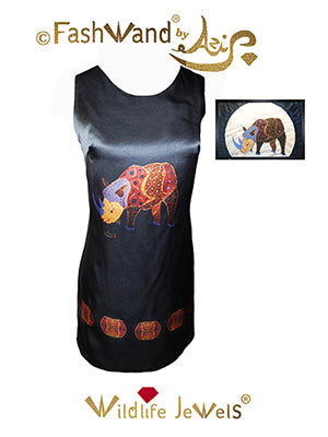 "FashWand Arte Dress in Silk and Velvet ""Alexandrite The Rhino"""