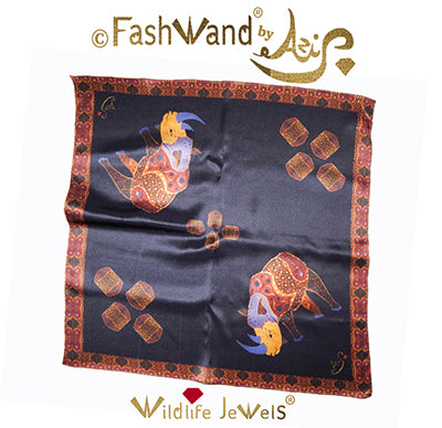 "FashWand 25 x 25  Arte Scarf in Silk Satin Wildlife Jewels® ""Alexandrite The Rhino"""