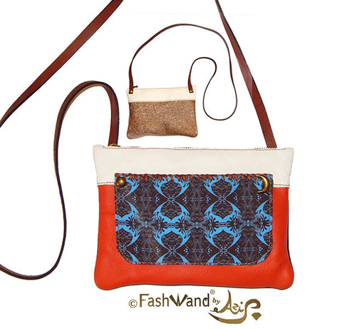 FashWand Italian Shoulder Bag in Midnight Crest Print and Leather