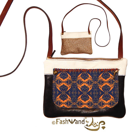 FashWand Italian Shoulder Bag in Salmon Crest Print and Leather