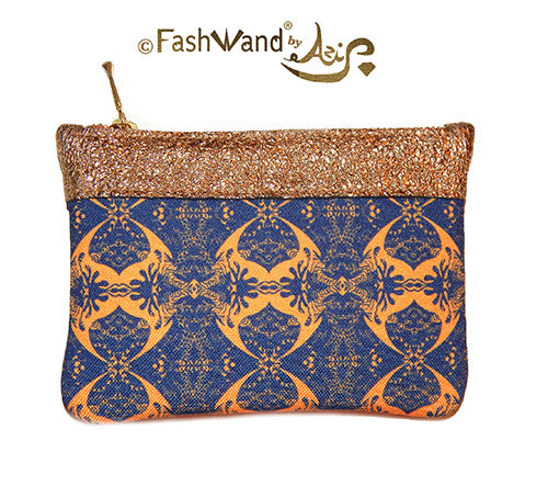 FashWand Italian Pouch in Salmon Crest and Leather