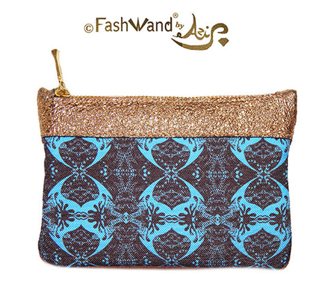 FashWand Italian Pouch in Midnight Crest and Leather