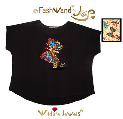 "FashWand Jeweled Embroidery Bamboo Top ""Azurite The Butterfly™"" Painting"
