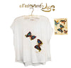 "FashWand Jeweled Embroidery Cotton Top ""Azurite The Butterfly"""