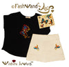 "FashWand Jeweled Embroidery Bamboo Top + Sateen Shorts ""Azurite The Butterfly"""
