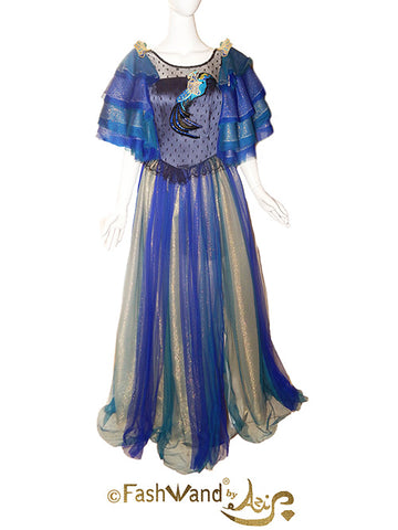 FashWand Royal Black Opal Bird of Paradise Jeweled Lace Appliqué Silk Tulle Gown