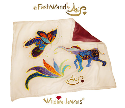 "FashWand Wildlife Jewels Bamboo Velour Throw Blanket ""Lapis Lazuli & Mandarin Garnet"""